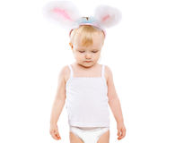 Cute baby in costume easter bunny Stock Images