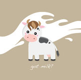 Cute baby cow. On the spilled milk background Stock Image