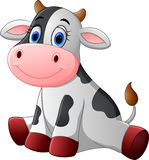 Cute baby cow cartoon sitting Stock Photography