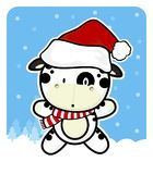 Cute baby cow with santa claus red hat Stock Photo