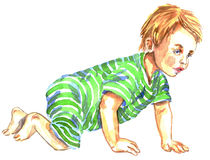 Cute baby crawling. Hand Painted Watercolor Illustration: Cute baby crawling Royalty Free Stock Images