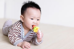 Cute Baby crawling on living room floor stock photo