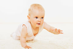 Cute baby creeping on carpet Stock Images
