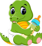 Cute baby crocodile cartoon. Illustration of cute baby crocodile cartoon Royalty Free Stock Photography