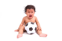 Cute baby cry  with ball  on white. Cute baby asia cry  with ball  on white Stock Photography