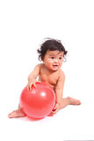 Cute baby cry  with ball  on white. Cute asia baby cry  with ball  on white Royalty Free Stock Photos