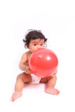 Cute baby cry  with ball  on white. Cute asia baby cry  with ball  on white Royalty Free Stock Photo