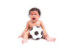 Cute baby cry  with ball  on white. Cute asia baby cry  with ball  on white Stock Photos