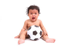 Cute baby cry  with ball  on white Royalty Free Stock Photo