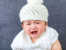 Cute baby and cry. Cute baby feeling sad and cry Stock Images