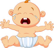 Cute baby crying isolated on white background Stock Photos