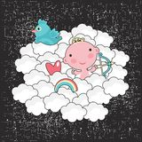 Cute baby cupid in the blue sky. Stock Image