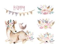 Cute baby deer animal nursery isolated illustration for children. Watercolor boho forest cartoon Birthday patry stock illustration