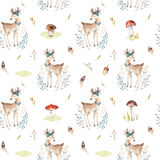 Cute baby deer animal seamless pattern for kindergarten, nursery isolated illustration for children clothing. Watercolor Stock Image