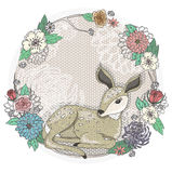 Cute baby deer and flowers frame. Stock Image