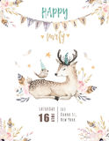 Cute baby deer nursery animal isolated illustration for children. Bohemian watercolor boho forest deer family drawing Stock Photo