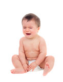 Cute baby in diaper crying. Isolated on a white background Stock Photography
