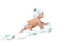 Cute baby with diapers Stock Photography