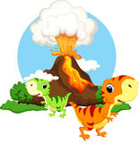 Cute baby dinosaur cartoon Stock Image