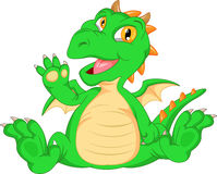 Cute baby dinosaur cartoon waving Stock Photography