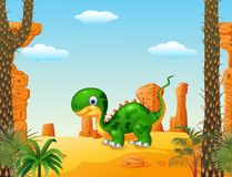 Cute baby dinosaur with desert background. Illustration of Cute baby dinosaur with desert background Royalty Free Stock Image