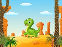 Cute baby dinosaur running in the desert background Royalty Free Stock Image