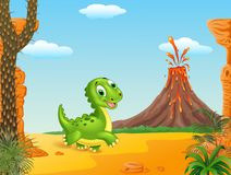 Cute baby dinosaur running in the desert background Royalty Free Stock Photos