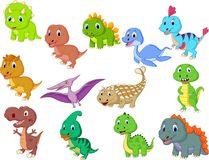 Cute baby dinosaurs collection royalty free illustration