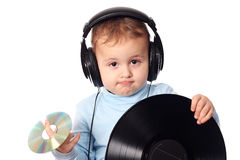 Cute baby dj Stock Photo