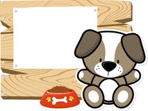 Cute baby dog on wooden board Royalty Free Stock Photography