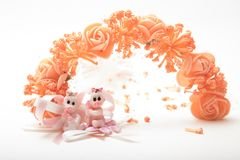 Cute baby dolls sitting in front of artificial flowers garland. Children`s toy baby dolls on white background, in front of fancy flower wreath Stock Image