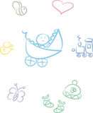 Cute Baby Doodle Set (Boy). Cute and colorful doodle set including baby (boy), baby items and little animals: Bee, duck, heart, toy train, butterfly, stroller Stock Photography