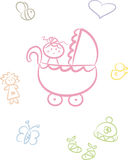 Cute Baby Doodle Set (Girl). Cute and colorful doodle set including baby (girl), baby items and little animals: Bee, duck, heart, doll, butterfly, stroller Stock Photography