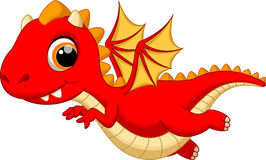 Cute baby dragon cartoon flying Stock Image