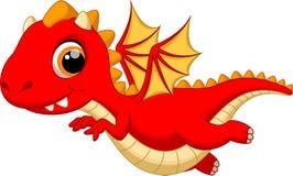 Cute baby dragon cartoon flying Stock Image