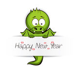 Cute Baby Dragon Greeting Card. Cute Baby Dragon with message Happy New Year Vector Illustration