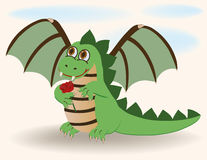 Cute baby dragon with rosa Royalty Free Stock Image