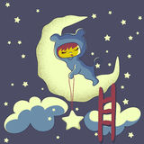 Cute baby dreams - cartoon Stock Photo