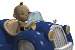 Cute baby driving a  car Royalty Free Stock Photography
