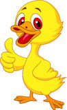 Cute baby duck cartoon thumb up Royalty Free Stock Photos