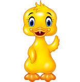 Cute baby duck hand waving isolated on white background Stock Images