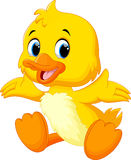 Cute baby duck lifted its wings. Vector illustration of cute baby duck lifted its wings Royalty Free Stock Photography