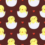 Cute baby ducks in eggs seamless pattern. With hearts Royalty Free Stock Photo