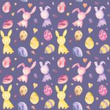 Cute baby easter rabbit seamless pattern, illustration for children clothing. Watercolor Hand drawn. For textile design, cover, wrapping paper, surface textures royalty free illustration
