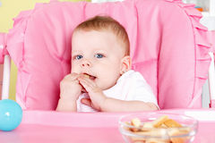 Cute baby eating biscuit Royalty Free Stock Image