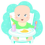 Cute baby eating porridge. With a spoon in high chair. Pretty kid in baby highchair with plate of porridge cartoon character vector illustration Royalty Free Stock Images