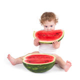 Cute baby eating a watermelon Royalty Free Stock Photo