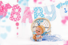 Cute Baby Elements With Word Baby And Blue Toy Stock Images