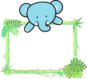 Cute baby elephant on blank board Stock Images