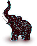 Cute baby elephant. Brown cute baby elephant with blue pattern Stock Images